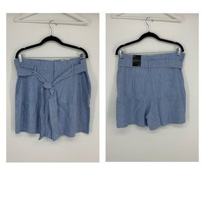 INC Light Blue Paper Bag Belted Linen Shorts